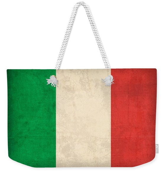 Italy Flag Vintage Distressed Finish Weekender Tote Bag