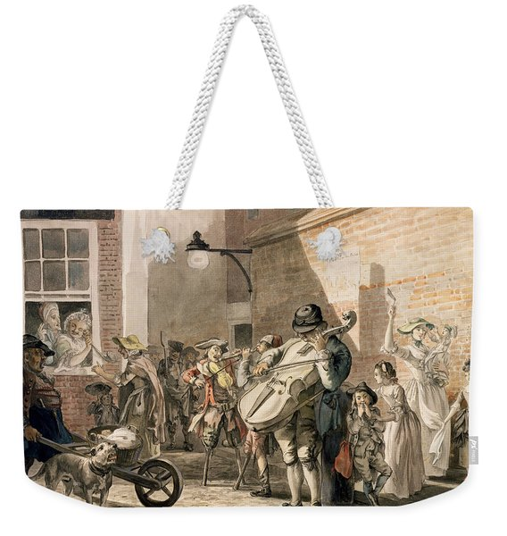 Itinerant Musicians Playing In A Poor Weekender Tote Bag