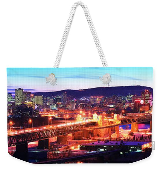 Jacques Cartier Bridge With City Lit Weekender Tote Bag