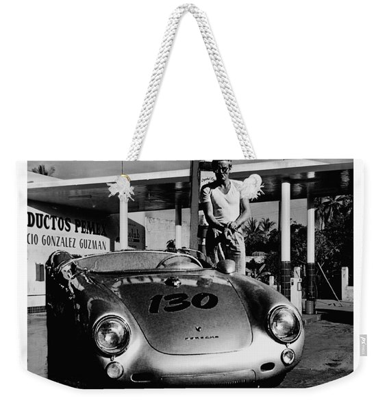 James Dean Filling His Spyder With Gas In Black And White Weekender Tote Bag