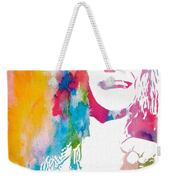Janis Joplin Watercolor Weekender Tote Bag