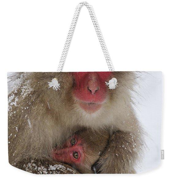 Japanese Macaque Warming Baby Weekender Tote Bag