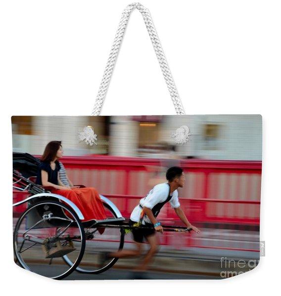 Japanese Tourists Ride Rickshaw In Tokyo Japan Weekender Tote Bag