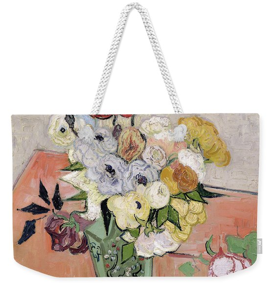Japanese Vase With Roses And Anemones Weekender Tote Bag