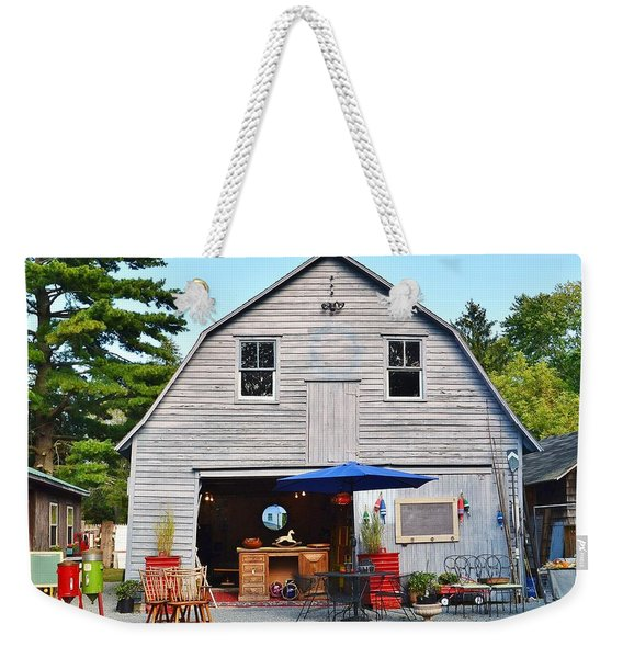 Weekender Tote Bag featuring the photograph The Old Barn At Jaynes Reliable Antiques And Vintage by Kim Bemis