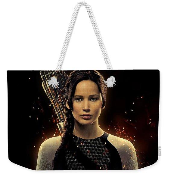 Jennifer Lawrence As Katniss Everdeen Weekender Tote Bag