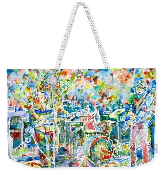 Jerry Garcia And The Grateful Dead Live Concert - Watercolor Portrait Weekender Tote Bag