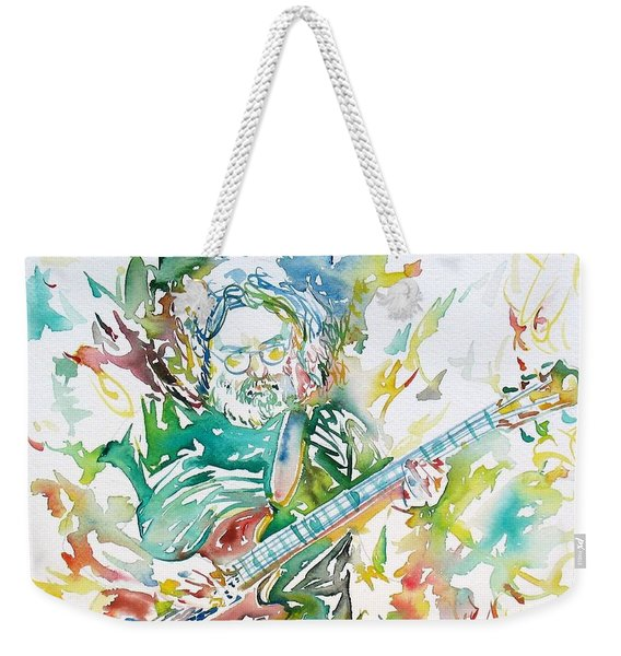 Jerry Garcia Playing The Guitar Watercolor Portrait.1 Weekender Tote Bag