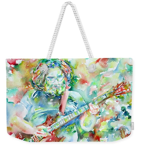 Jerry Garcia Playing The Guitar Watercolor Portrait.3 Weekender Tote Bag