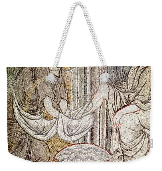 Jesus And Saint Peter, Detail From Jesus Washing The Feet Of The Apostle Mosaic Weekender Tote Bag
