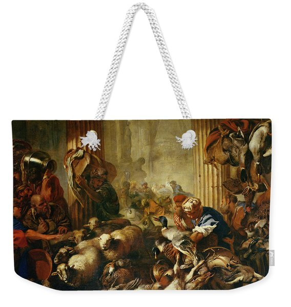 Jesus Driving The Merchants From The Temple Oil On Canvas Weekender Tote Bag