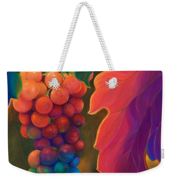 Weekender Tote Bag featuring the painting Jewels Of The Vine by Sandi Whetzel