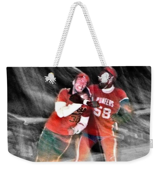 Jim Fitzpatrick Vs Charles Gipson Battling In Old School Roller Derby With The Sf Bay Bombers II Weekender Tote Bag