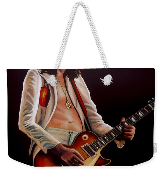 Jimmy Page In Led Zeppelin Painting Weekender Tote Bag