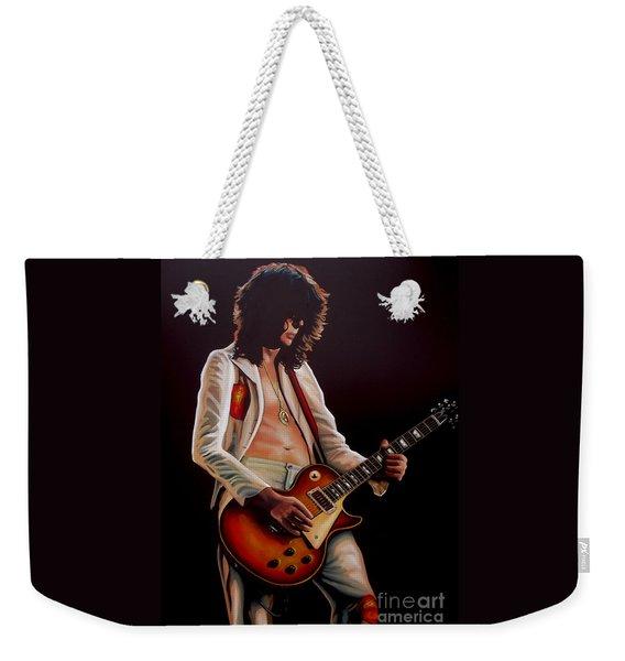 Jimmy Page In Led Zeppelin Painting Weekender Tote Bag