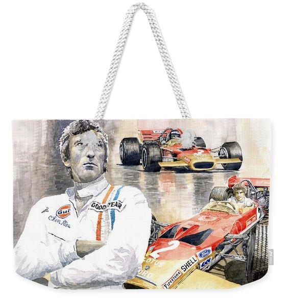 Jochen Rindt Golden Leaf Team Lotus Lotus 49b Lotus 49c Weekender Tote Bag
