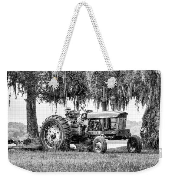 John Deer Tractor Under The Old Cedar Weekender Tote Bag