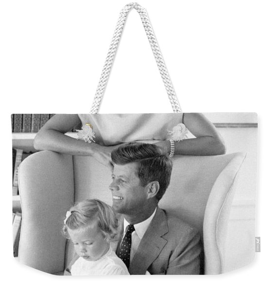 John F. Kennedy With Jacqueline And Caroline 1959 Weekender Tote Bag