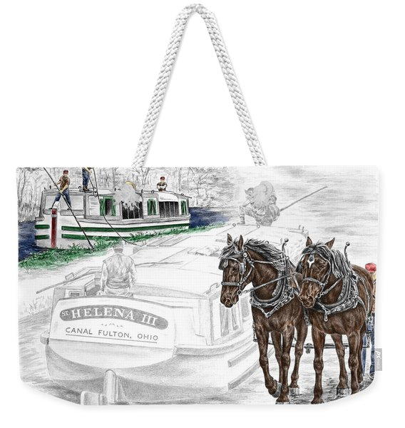 Journeys On The Canal - Canal Boat Print Color Tinted Weekender Tote Bag