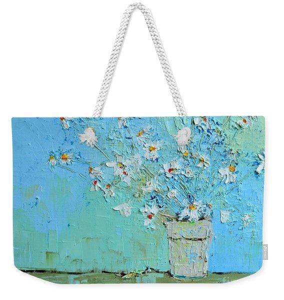 Joyful Daisies, Flowers, Modern Impressionistic Art Palette Knife Oil Painting Weekender Tote Bag