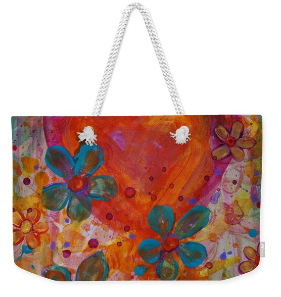 Weekender Tote Bag featuring the painting Joyful Noise by Jacqueline Athmann