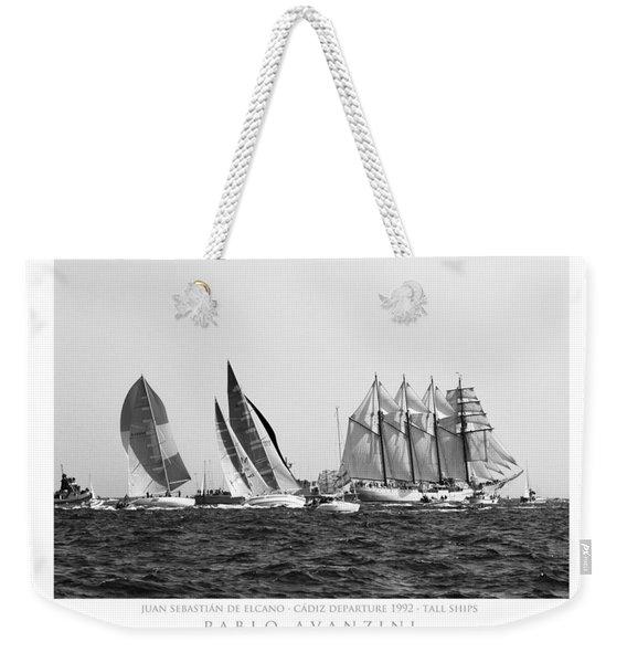 Juan Sebastian Elcano Departing The Port Of Cadiz Weekender Tote Bag