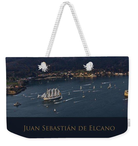 Juan Sebastian Elcano Departing The Port Of Ferrol Weekender Tote Bag