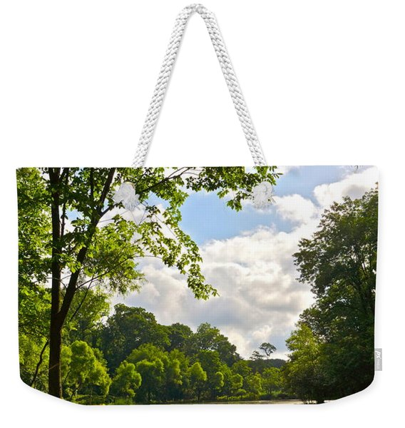 July Fourth Duck Pond With Goose Weekender Tote Bag