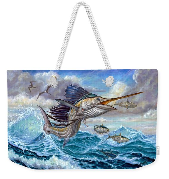 Jumping Sailfish And Small Fish Weekender Tote Bag