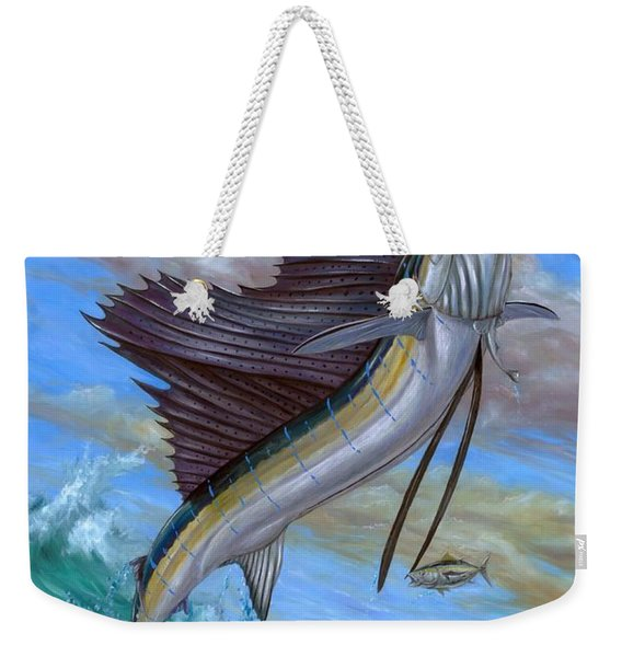 Jumping Sailfish Weekender Tote Bag