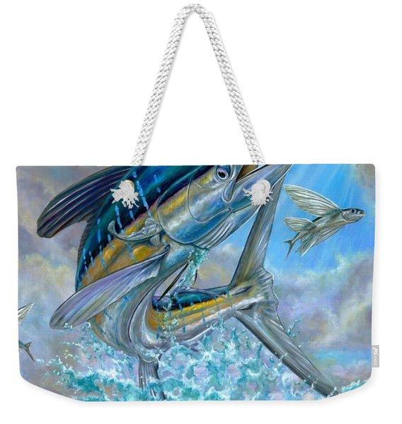 Jumping White Marlin And Flying Fish Weekender Tote Bag