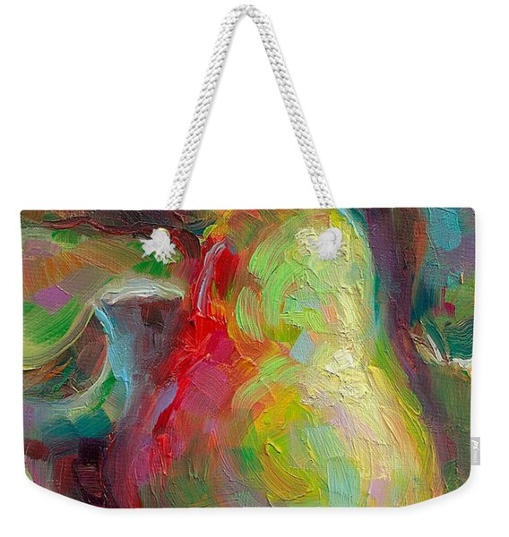 Weekender Tote Bag featuring the painting Just A Pear - Impressionist Still Life by Talya Johnson