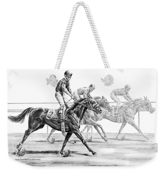 Just Finished - Horse Racing Print Weekender Tote Bag