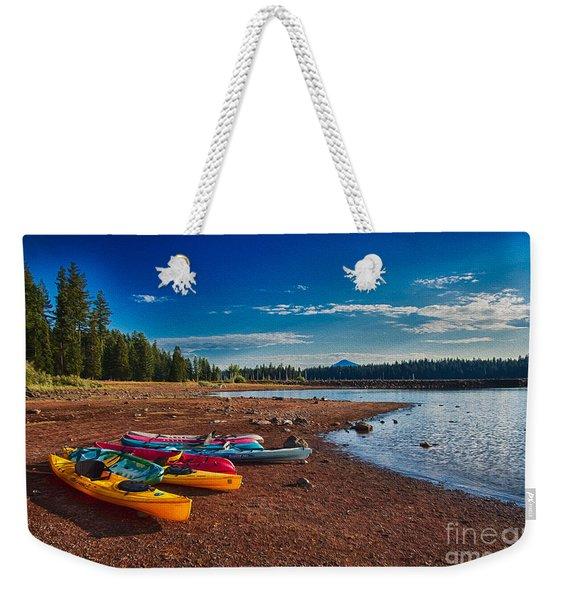 Kayaking On Howard Prairie Lake In Oregon Weekender Tote Bag