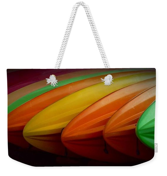 Weekender Tote Bag featuring the photograph Kayaks by Patricia Strand