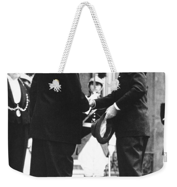 Kennedy & De Gaulle Meet Weekender Tote Bag