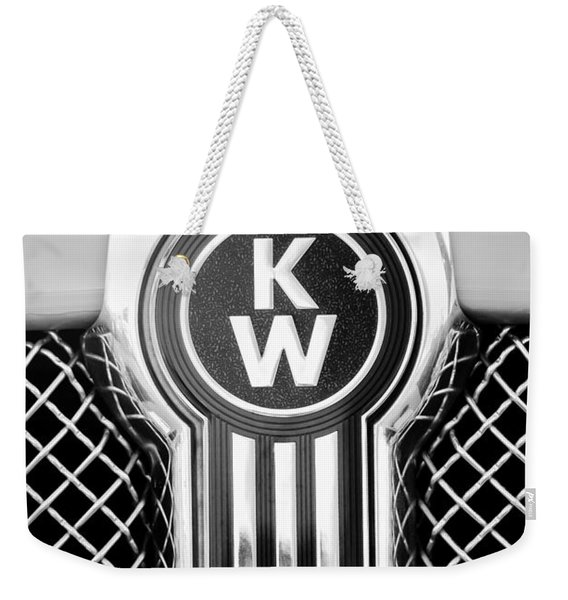 Weekender Tote Bag featuring the photograph Kenworth Truck Emblem -1196bw by Jill Reger