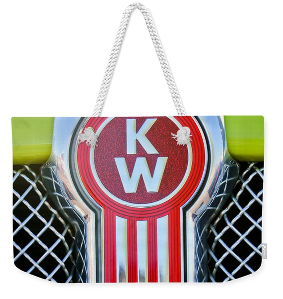 Weekender Tote Bag featuring the photograph Kenworth Truck Emblem -1196c by Jill Reger