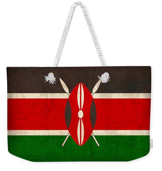 Kenya Flag Vintage Distressed Finish Weekender Tote Bag