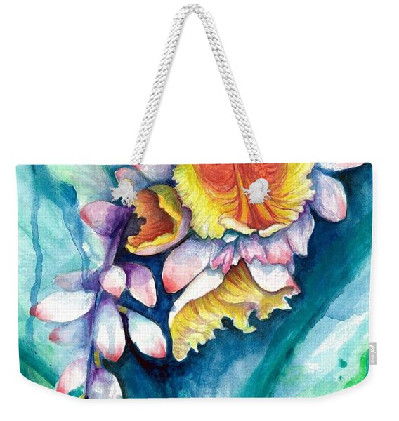Weekender Tote Bag featuring the painting Key West Ginger by Ashley Kujan