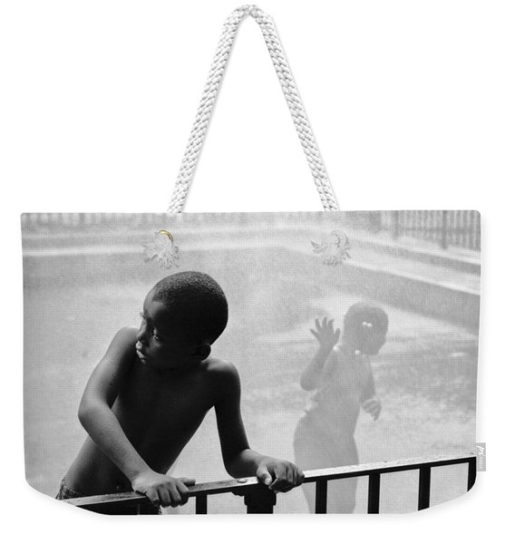 Kid In Sprinkler Weekender Tote Bag