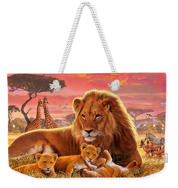 Kilimanjaro Male Lion With Cubs Weekender Tote Bag