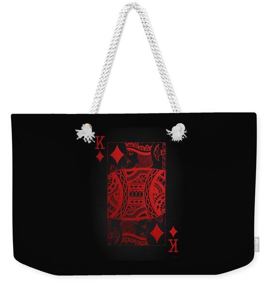 King Of Diamonds In Red On Black Canvas   Weekender Tote Bag