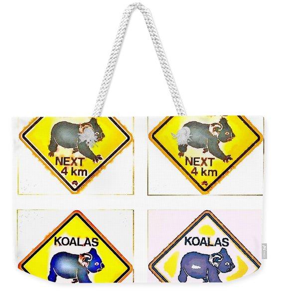 Koalas Road Sign Pop Art Weekender Tote Bag