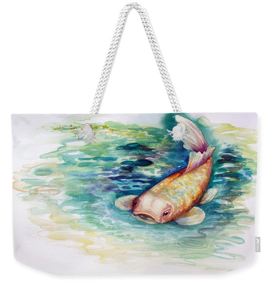 Weekender Tote Bag featuring the painting Koi I by Ashley Kujan