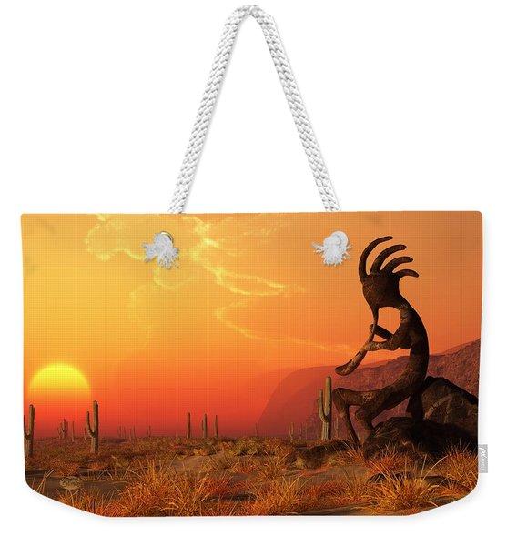 Kokopelli Sunset Weekender Tote Bag