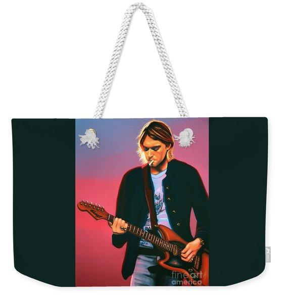 Kurt Cobain In Nirvana Painting Weekender Tote Bag