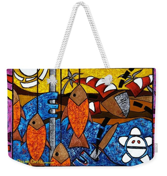 Weekender Tote Bag featuring the painting La Pesca Virgen De Un Hombre Honrado by Oscar Ortiz