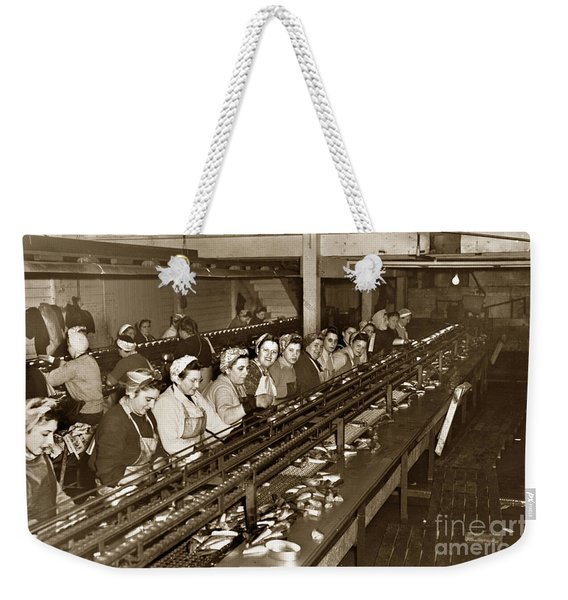 Ladies Packing Sardines In One Pound Oval Cans In One Of The Over 20 Cannery's Circa 1948 Weekender Tote Bag