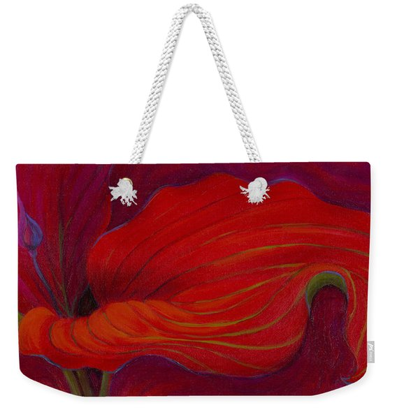 Weekender Tote Bag featuring the painting Lady In Red by Sandi Whetzel